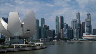 Looking back at downtown Singapore