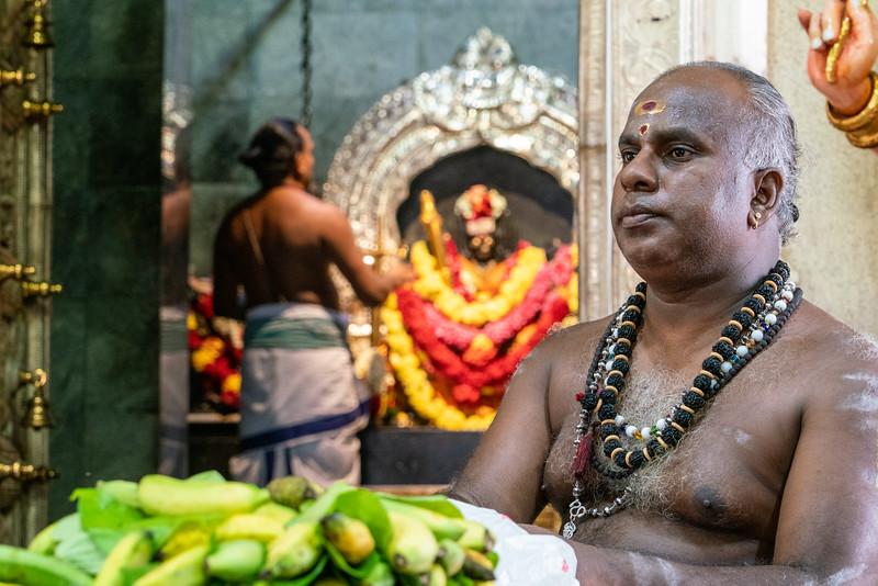 A Hindu priest at the Sri Veeramakaliamman Temple.