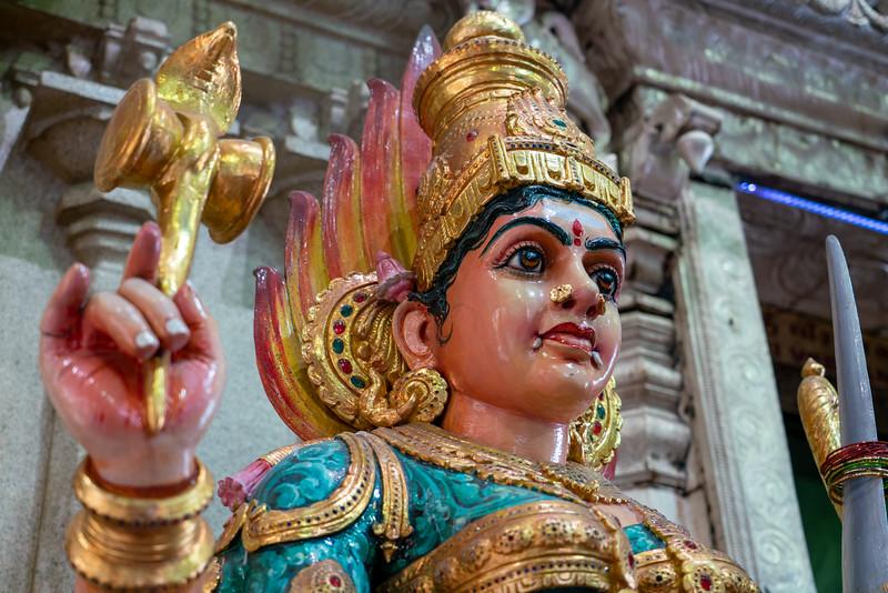Interior detail of the Sri Veeramakaliamman Temple.