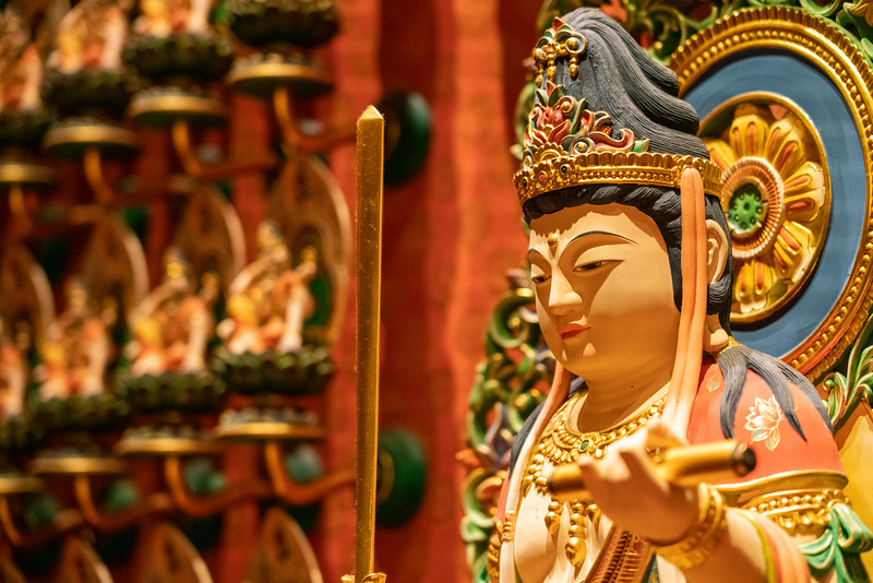 Interior detail of the Buddha Tooth Relic Temple.