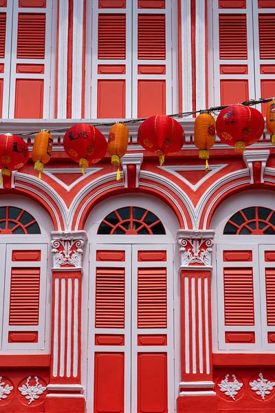 Colorful Singapore shophouse.