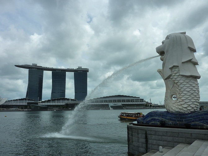 Marina Bay Sands view from Merlion Park