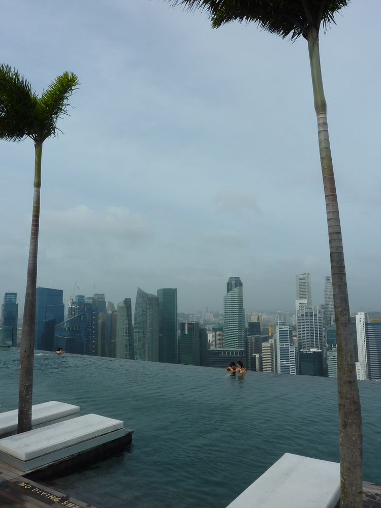 Marina Bay Sands infinity pool and lounge chairs