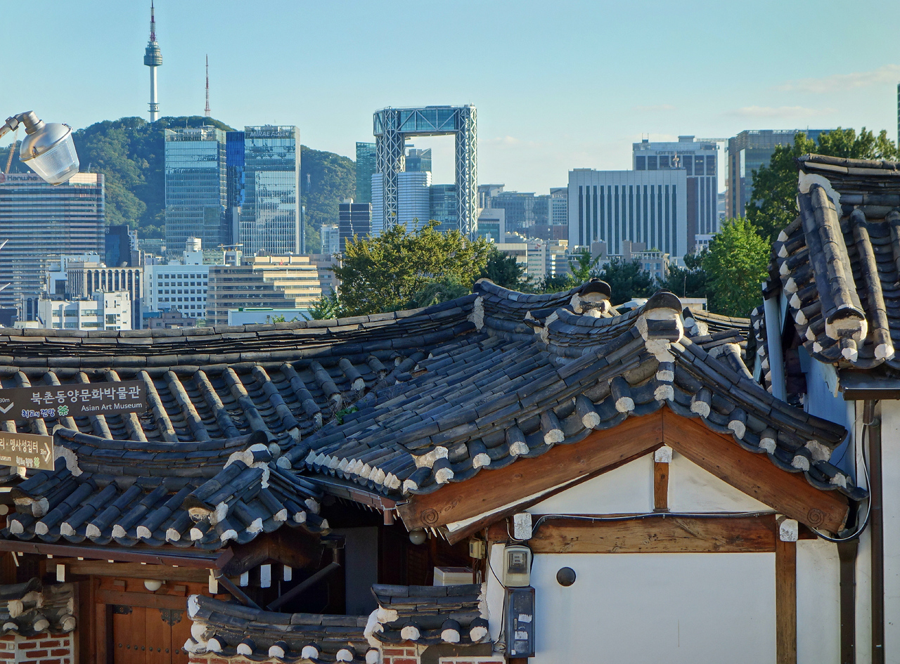 A view of modern Seoul from Bukchon Hanok Village.