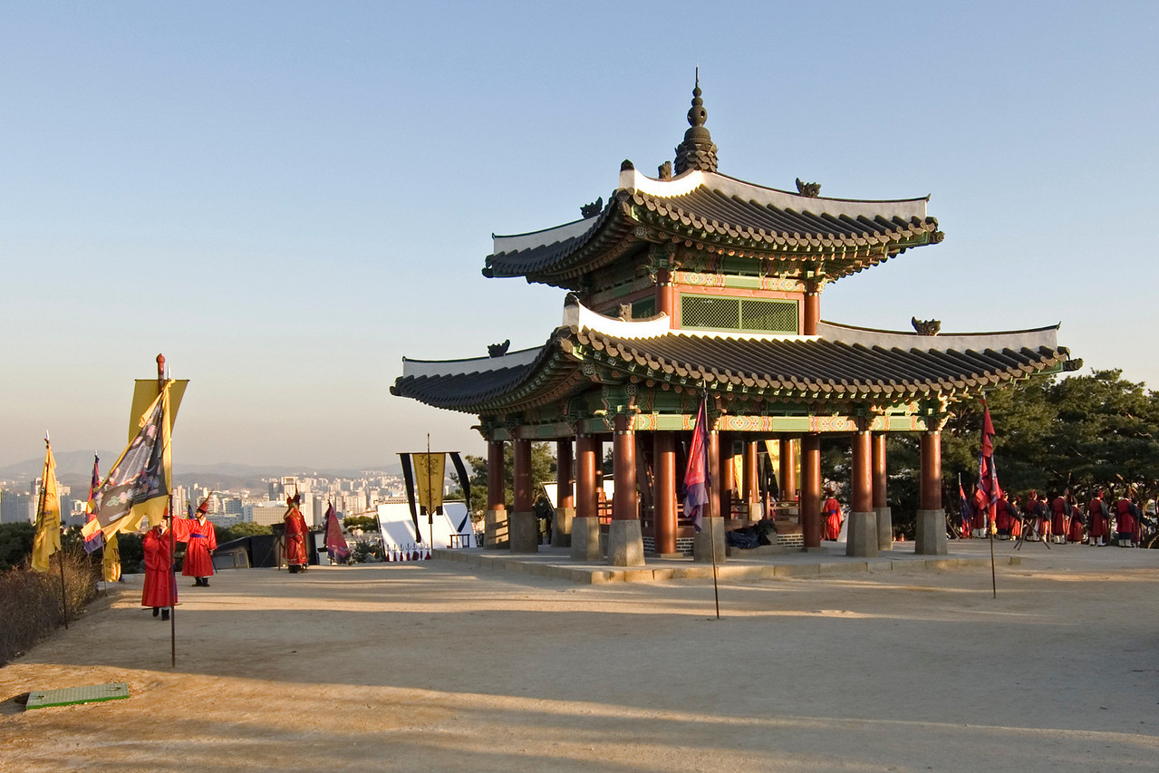 Movie set at the main temple in Hwaseong Fortress - South Korea