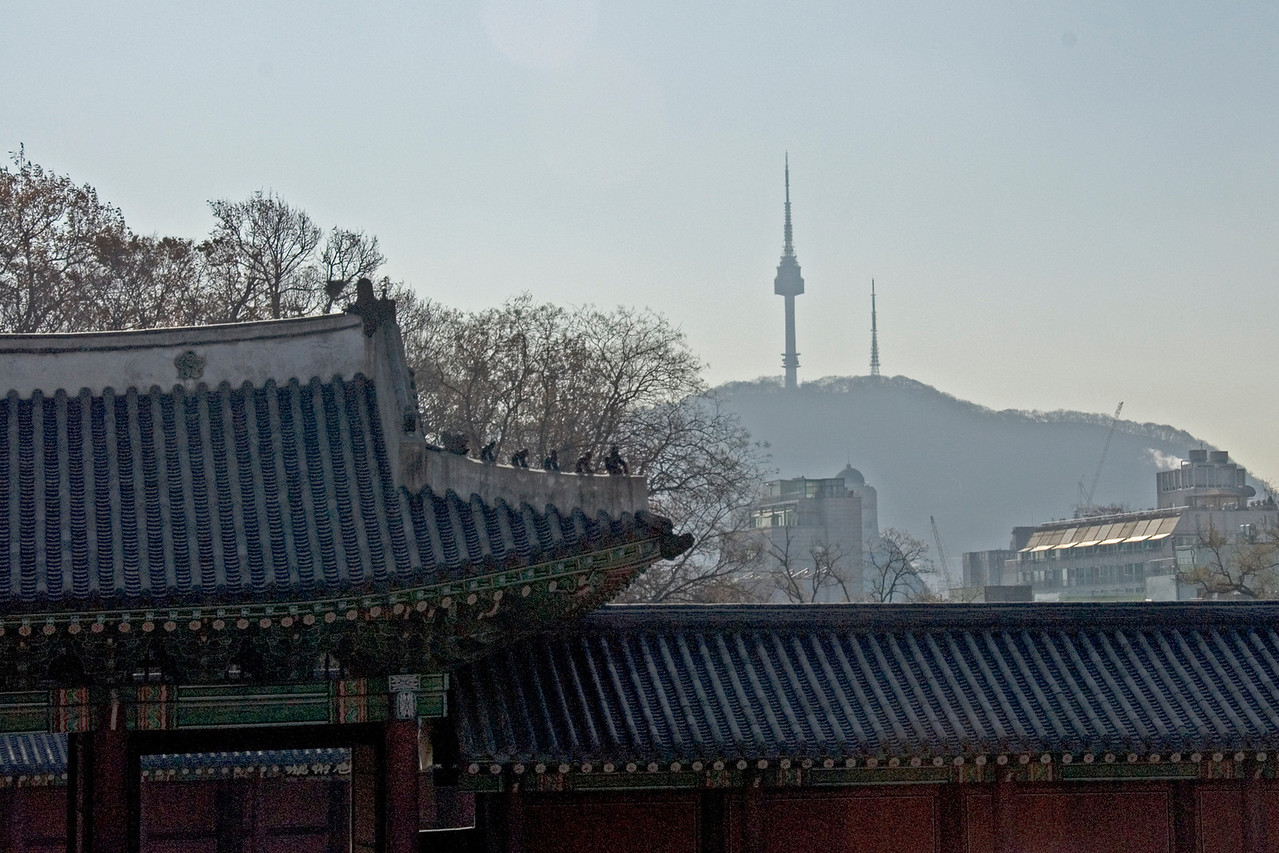 Overlooking view of the Seoul Tower from the Changdeok Palace - Seoul, South Korea