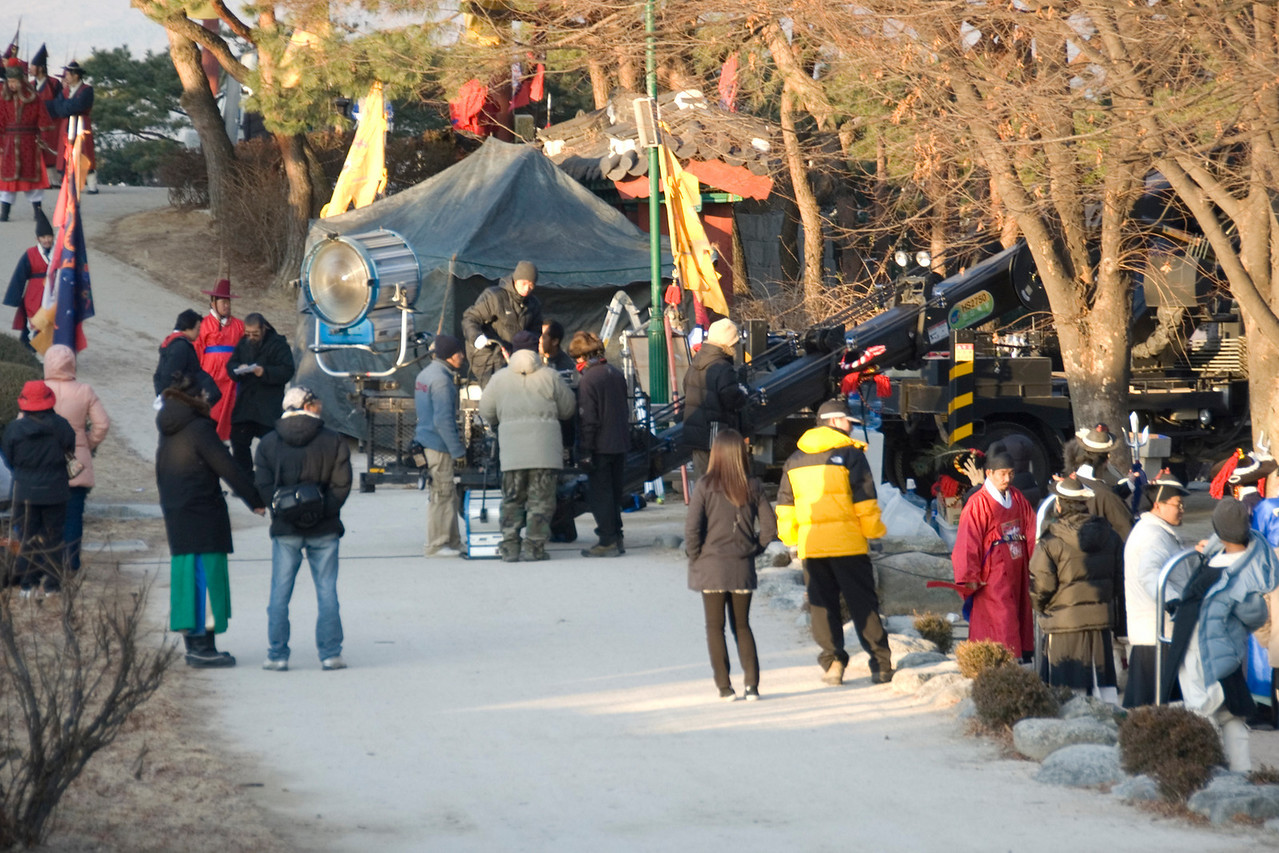 A filming crew on set at Hwaseong Fortress - South Korea