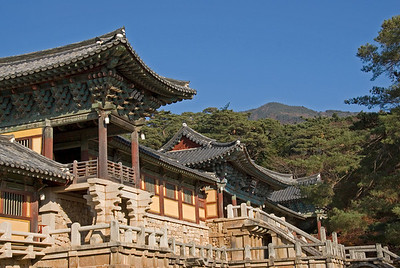 Details of architecture at Gulguksa Temple in Gyeongju, South Korea