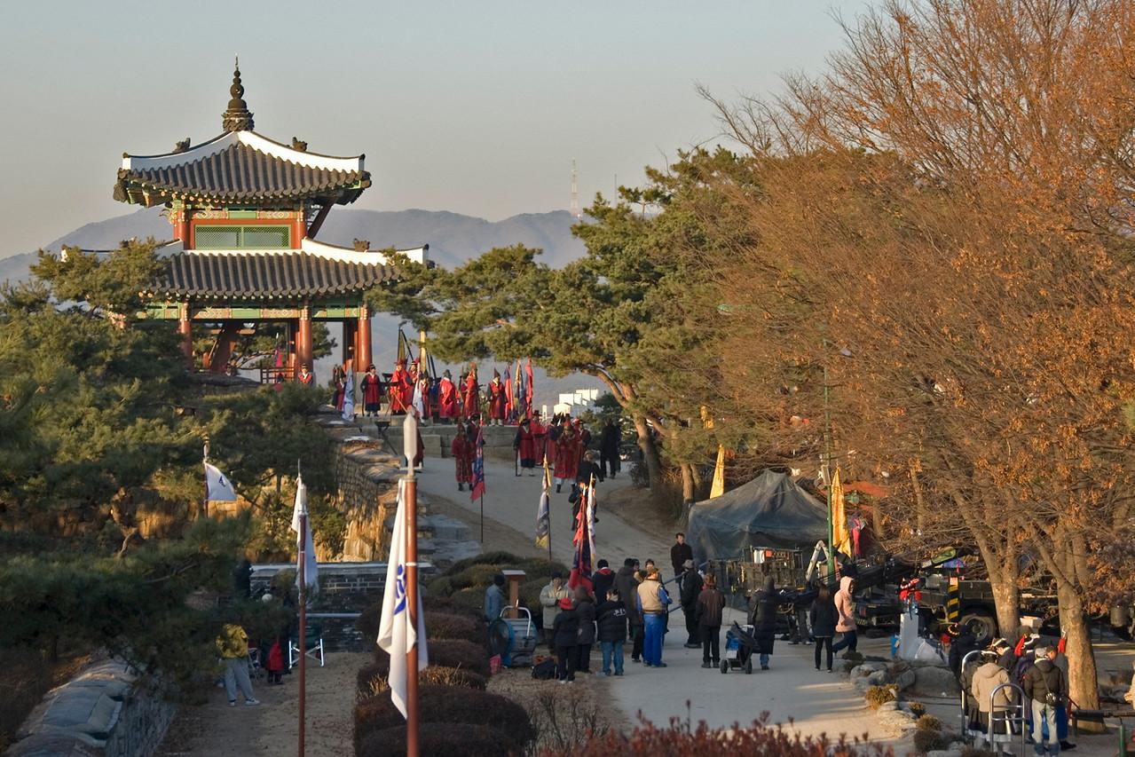 Shot of the film set at Hwaseong Fortress - South Korea