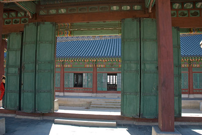 Colorful doors and windows at Changdeok Palace - Seoul, South Korea
