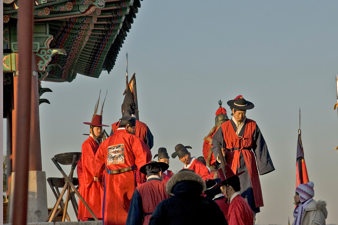 Actors on movie set at Hwaseong Fortress - South Korea