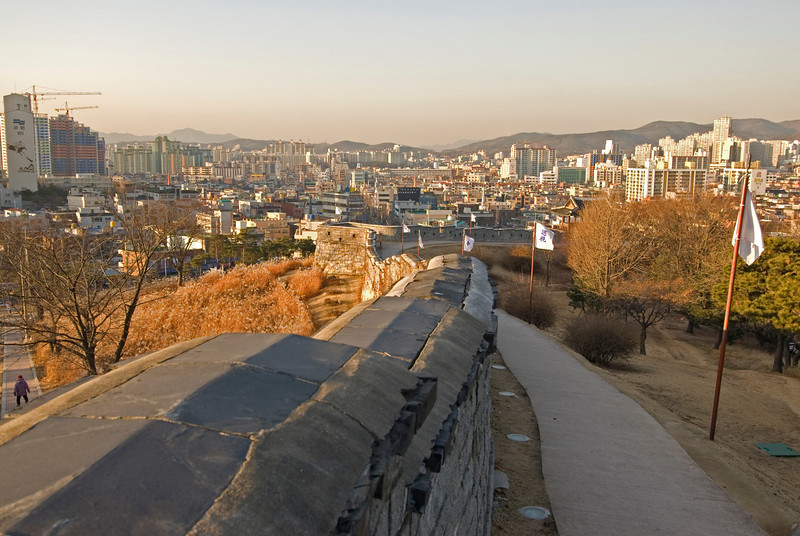 View of the skyline from the Hwaseong Fortress - South Korea