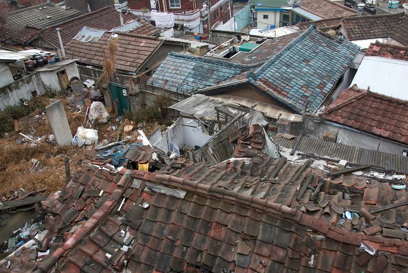Dilapidated rooftops in a slum area of Seoul, South Korea