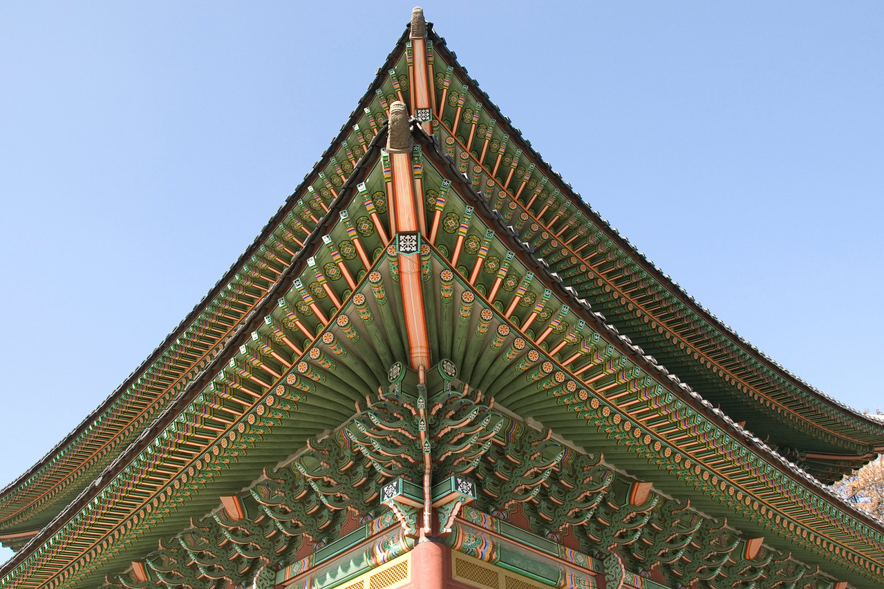 Elaborate rooftop design at Changdeok Palace - Seoul, South Korea