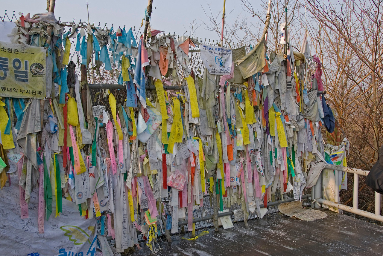 Ribbons at Freedom Bridge in DMZ, South Korea