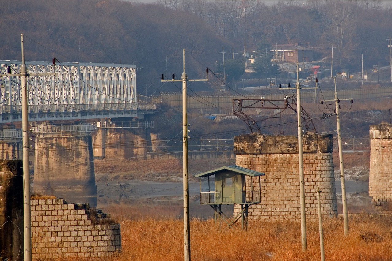 Steel bridge to DMZ in South Korea