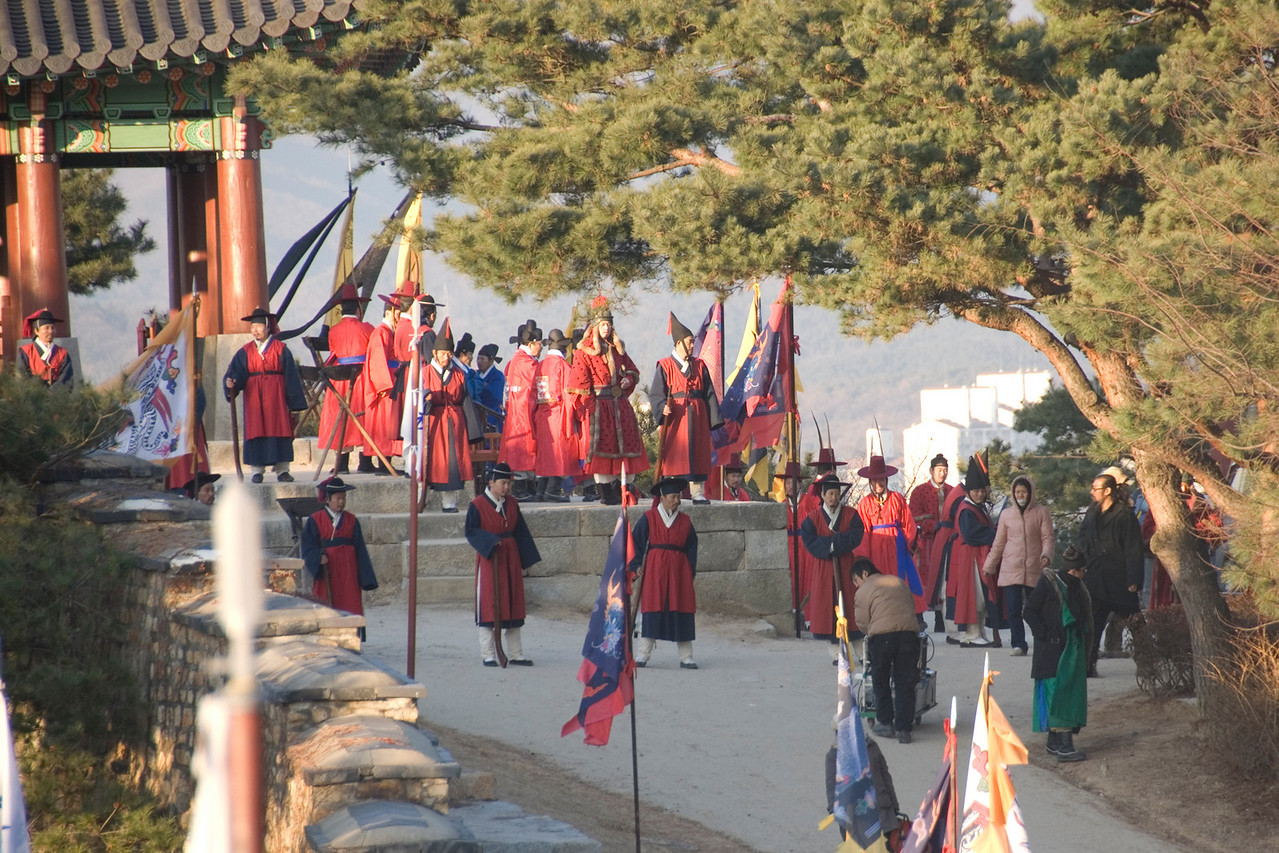 Actors on costumes at movie set in Hwaseong Fortress - South Korea