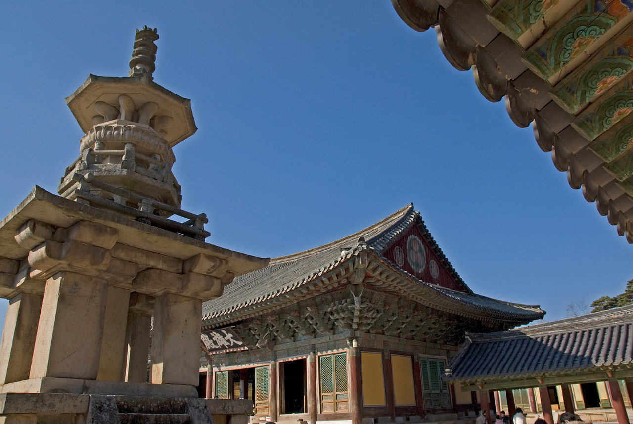 Close-up shot of rooftops at Gulguksa Temple - Gyeongju, South Korea