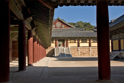 The stairs and hallways of Gulguksa Temple in Gyeongju, South Korea