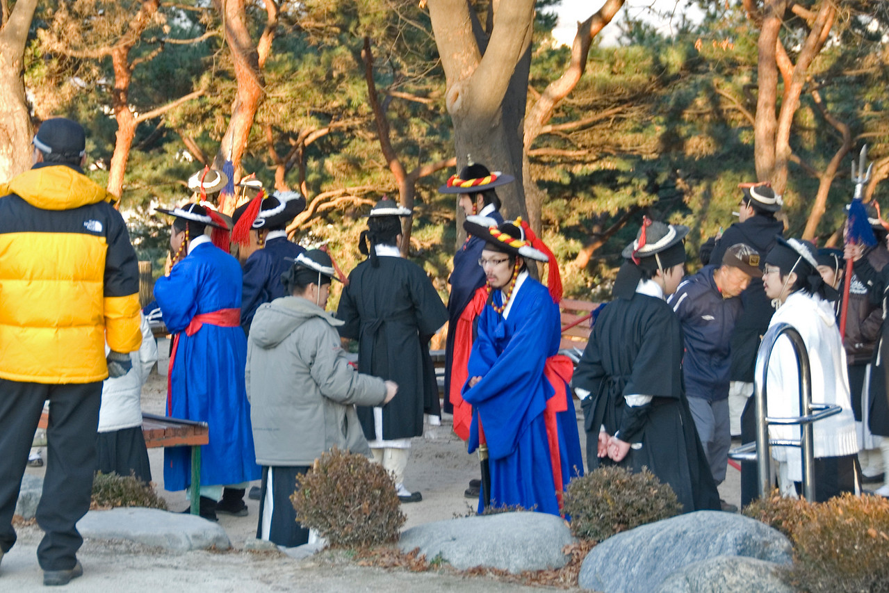 Cast on break from filming at Hwaseong Fortress - South Korea