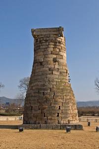 Isolated shot of the Cheomseongdae Observatory in Gyeongju, South Korea