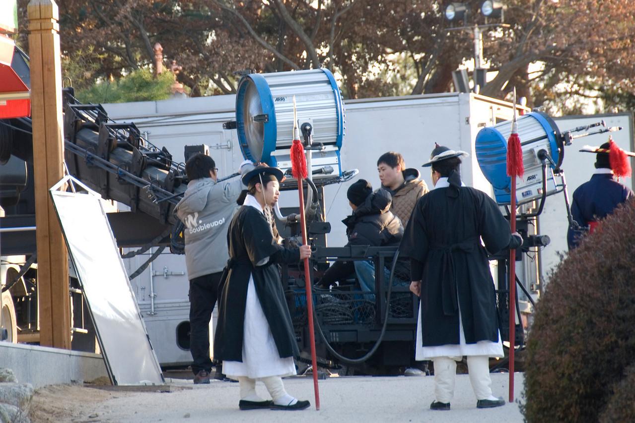 Film crew setting up equipment at Hwaseong Fortress - South Korea