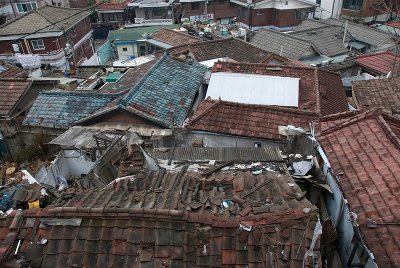 Looking down on dilapidated rooftops at Seoul, South Korea