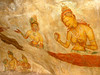 Fifth century frescoes on the Sigiriya rock believed to be of King Kassapa's concubines.