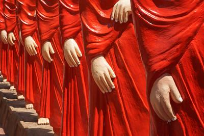 500 statues of Buddhist monks (Arahants) in Nellikulama Temple walking after Buddha. Anuradhapura, Sri Lanka