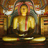 Ancient Buddha image in Dambulla Rock Temple caves, Sri Lanka