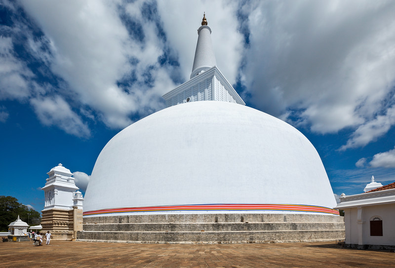 Ruwanweliseya Dagoba, Buddist, stupa, Anuradhapura, Sri Lanka, built by  Sinhalese king Dutugemunu in the 2nd century BC, third largest in the world, old, ancient, reconstructed, Golden Sand Stupa, restored, visitors, piligrims