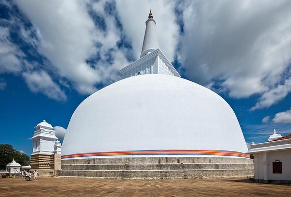 Ruwanweliseya Dagoba, Buddist, stupa, Anuradhapura, Sri Lanka, built by  Sinhalese king Dutugemunu in the 2nd century BC, third largest in the world, old, ancient, reconstructed, Golden Sand Stupa, restored, visitors, piligrims