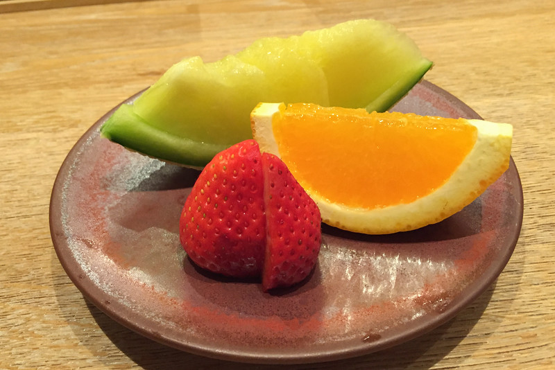 Perfect sliced fruit -- a typical Japanese dessert