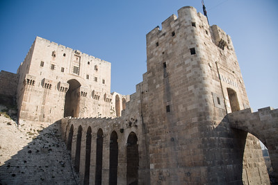 Aleppo, Syria - January, 2008: Citadel in downtwon Aleppo was first built between 364-333 BC while the majority of the present day structure dates back to Mamluk rule between 1250-1517 AD. (Photo by Christopher Herwig)