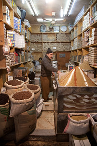 Aleppo, Syria - January, 2008: Spice shop in the Aleppo Souk (bazaar).