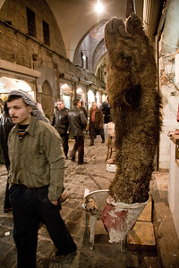 Aleppo, Syria - January, 2008: Camel's neck and head in the vilabrant Aleppo Souk (bazaar) which dates back to the 13th century and is the heart of the city Aleppo one of the oldest cities in the world, at roughly 8000 years. (Photo by Christopher Herwig)