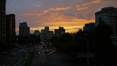 Sunset over Taiwan from the metro