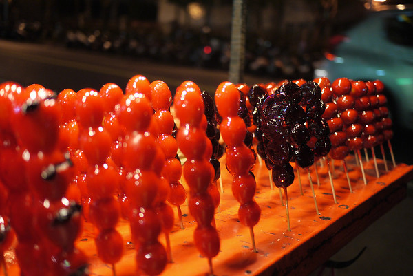 Candy coated sweets at the Shilin Night Market in in Taipei, Taiwan