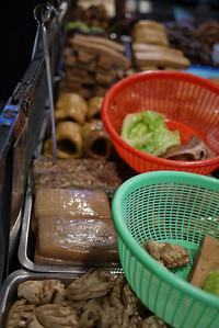Meaty foods at the Shilin Night Market in in Taipei, Taiwan