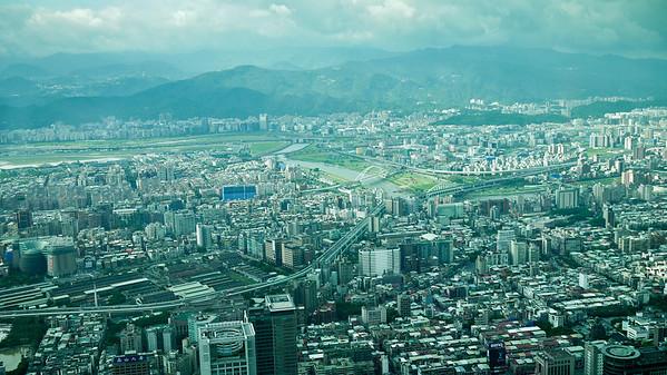 The skyline view of Taipei from Taipei 101 in Taiwan.