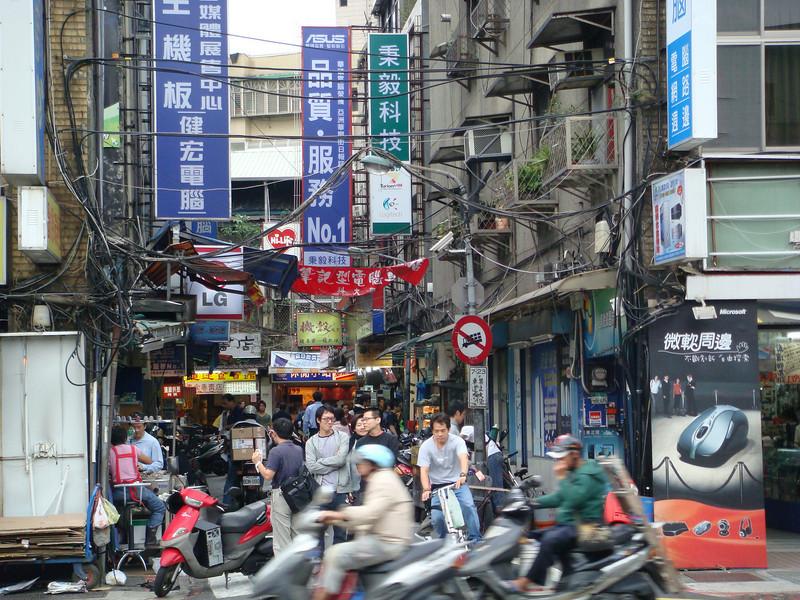 Busy street at Guang Hua Electronics Market - Taipei, Taiwan
