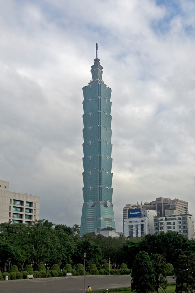 Taipei 101 against clear sky and clouds - Taipei, Taiwan