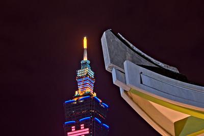 Taipei 101 and corner of SYS Memorial - Taipei, Taiwan