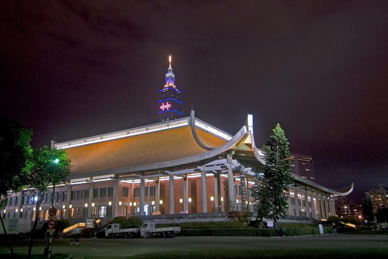 Taipei 101 towering behind Sun Yat Sen Memorial - Taipei, Taiwan