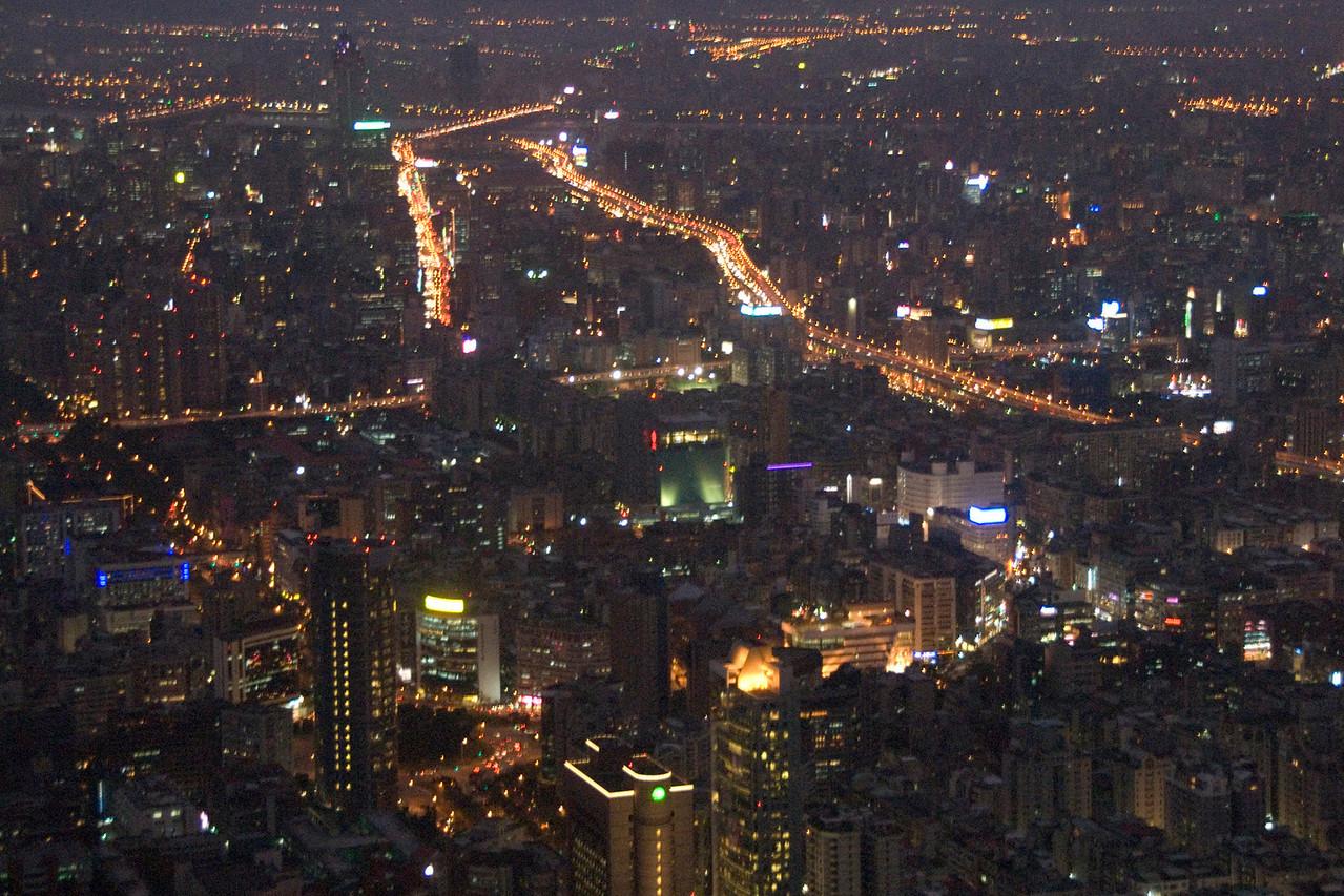 Bright lights at Taipei skyline at night- Taipei, Taiwan