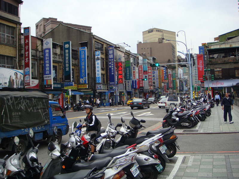 Motorcycles parked on side road at Taipei, Taiwan