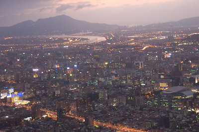 Bright lights on Taipei skyline at night - Taipei, Taiwan