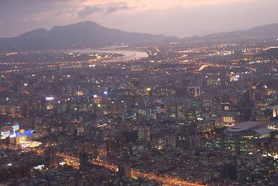 Bright lights on Taipei skyline at night - Taipei, Taiwan