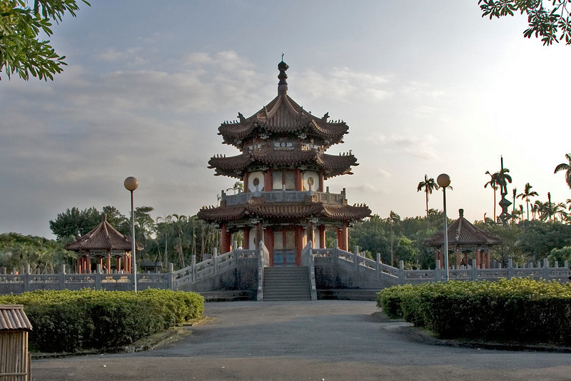 Front view of the Pagoda at Peace Park - Taipei, Taiwan