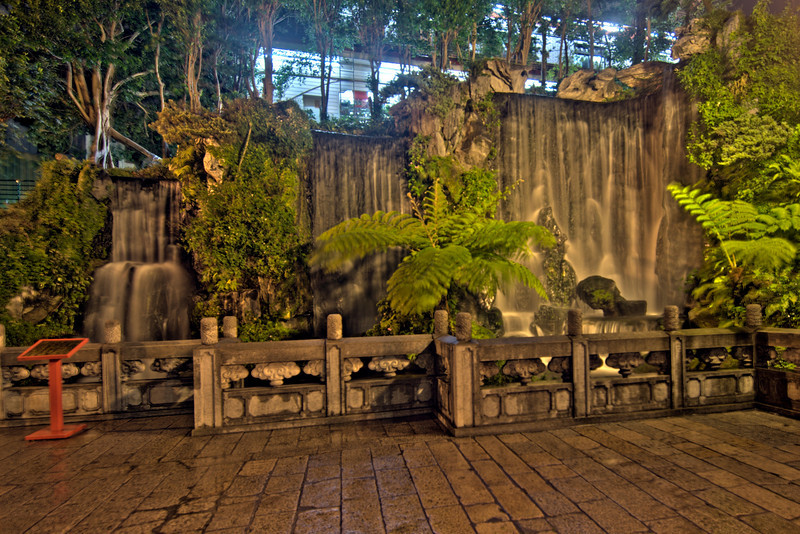 Waterfall and garden outside Longshan Temple HDR - Taipei, Taiwan